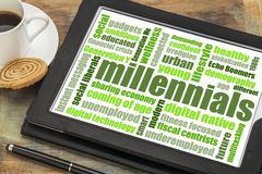 Millennials word cloud on tablet royalty free stock photo
