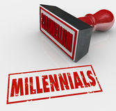 Millennials Word Stamped Grunge Style Young Generation X Y Kids. Millennials word stamped in red ink and grunge style to label a group of young people for Royalty Free Stock Photography