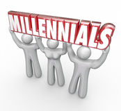Millennials 3 Young People Lifting Word Youth Marketing. Millennials word in red 3d letters lifted by three young people to illustrate youth marketing and stock illustration