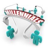 Millennials Związanych strzała młodości Młodego pokolenia ludzie ilustracji