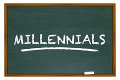 Millennialsgeneratie Y Demo Group Chalk Board Word Stock Foto's