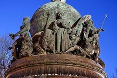 Millennio del monumento della Russia in Veliky Novgorod, Russia, entro la notte di inverno - vista del primo piano Fotografia Stock Libera da Diritti