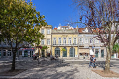 Millennium BCP Agency and old buildings of Vila Nova de Famalicao. Vila Nova de Famalicao, Portugal – September 06, 2015: Millennium BCP Agency and old Stock Image