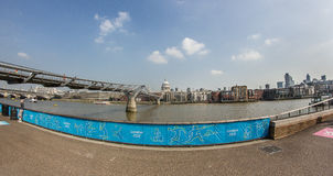 The Millennium Bridge. And St Paul cathedral during London 2012 Olympics Game Stock Images