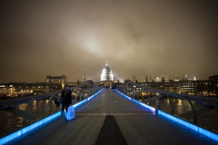 Millennium bridge. With St. Paul's Cathedral at the end stock photo
