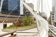 Millennium Bridge at Commons Park in Denver, Colorado. Millennium Bridge structure at the Riverfront Park neighborhood of Denver. Commons Park stock photography