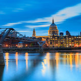 Millennium Bridge leading to Saint Paul`s Cathedral Stock Photography