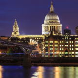 Millennium Bridge leading to Saint Paul`s Cathedral Royalty Free Stock Photography