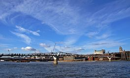 Millennium Bridge in London. Modern padestrian Millennium Bridge in London, uk royalty free stock photos