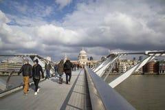 Millennium Bridge London with cloudscape Stock Photos