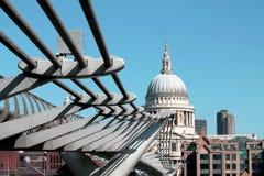 Millennium Bridge, London. A steel pedestrian bridge over the Thames river in London, England Stock Photo