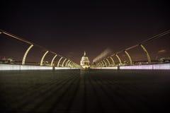 Millennium bridge at night stock photo