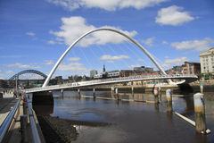 Millennium Bridge over Tyne. The Millennium Bridge that spans the River Tyne between Gateshead and Newcastle, England Stock Photos