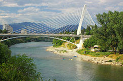 Millennium bridge in Podgorica, Montenegro. Millennium bridge over Moraca river in Podgorica, Montenegro Royalty Free Stock Image
