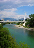 Millennium bridge in Podgorica, Montenegro. Millennium bridge over Moraca river, Podgorica, Montenegro Royalty Free Stock Photography