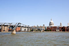 Millennium Bridge, River Thames and St Paul's Cathedral during the day royalty free stock photos