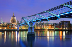 Millennium Bridge and Saint Paul Cathedral, London, UK Stock Photo