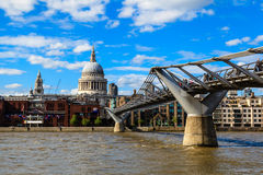 Millennium Bridge and Saint Paul's Cathedral Stock Photos