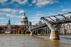 Millennium Bridge and Saint Paul's Cathedral in London Royalty Free Stock Photo