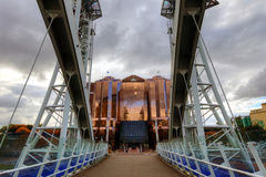 Millennium Bridge at Salford Quays in Manchester. royalty free stock photography
