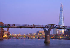 Millennium Bridge, the Shard and Tower Bridge Royalty Free Stock Images