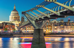 Millennium Bridge and St Paul Cathedral at dusk. Wonderful Londo Stock Images