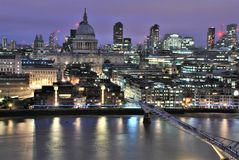 Millennium Bridge and St Paul Cathedral stock photography