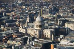 Millennium bridge and St. Paul, London, top view stock image