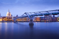 Millennium bridge and St. Paul's cathedral, London England, UK Royalty Free Stock Photos