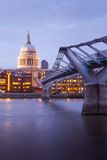 Millennium bridge and St. Paul's cathedral, London England, UK Royalty Free Stock Image