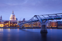 Millennium bridge and St. Paul's cathedral, London England, UK Stock Image