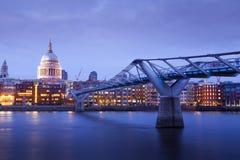 Millennium bridge and St. Paul's cathedral, London England, UK Stock Image