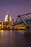 Millennium bridge and St. Paul's cathedral, London England, UK Stock Photography