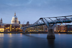 Millennium bridge and St. Paul's cathedral, London England, UK Royalty Free Stock Images