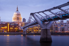 Millennium bridge and St. Paul's cathedral, London England, UK Royalty Free Stock Photography