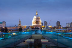 Millennium bridge and St. Paul's cathedral, London England, UK Royalty Free Stock Photo