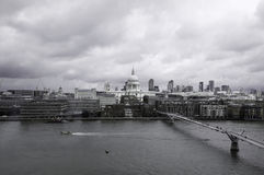 Millennium Bridge and St Paul`s Cathedral, London Royalty Free Stock Images