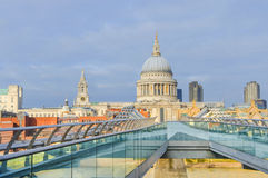 Millennium bridge and St Paul's Cathedral Stock Photography