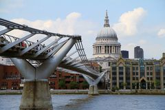 Millennium Bridge And St. Paul's Cathedral in London. UK Stock Photography