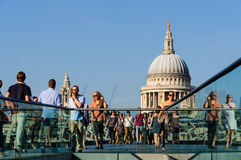 The Millennium Bridge and St Paul's cathedral Royalty Free Stock Images