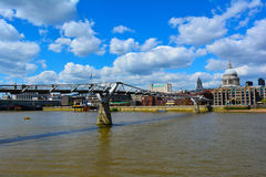 Millennium Bridge and St Paul's Cathedral, London, United Kingdom Royalty Free Stock Image