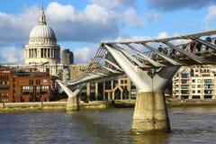 Millennium Bridge & St,Paul's Cathedral, London Stock Photo