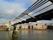 Millennium Bridge and St.Paul's Cathedral Stock Photos