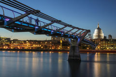 Millennium Bridge and St Pauls Cathedral Royalty Free Stock Photo