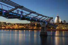 Millennium Bridge and St Pauls Cathedral. Millennium Bridge & St Pauls Cathedral, London Royalty Free Stock Photo