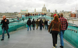 Millennium Bridge and St Pauls Cathedral London Royalty Free Stock Photography