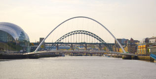 Millennium Bridge and Tyne Bridge over the river Royalty Free Stock Photography