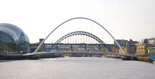 Millennium Bridge and Tyne Bridge over the river Stock Photos