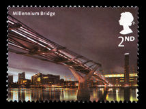 Millennium Bridge UK Postage Stamp. UNITED KINGDOM - 2002: A Postage Stamp from the UK containing an image of the Millennium Bridge in London, circa 2002 stock image
