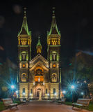 Millennium Church by night - Timisoara Stock Photo